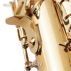 Aklot Eb Alto Saxophone Sax Gold Lacquered Brass Body with Mouthpiece Reed Case