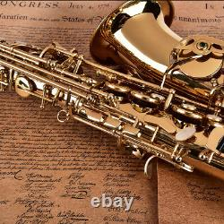 Alto Eb Sax Saxophone Brass Golden Set with Case Mouthpiece Grease Brush Quality