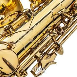 Alto Eb Saxophone Sax Gold Hand Engraved Bell Decoration+Mouthpieces+Gloves