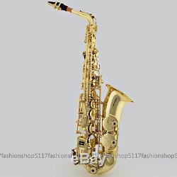 Brand New Alto Eb Saxophone Sax Gold with Case Mouthpiece Reeds Care Kit