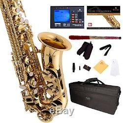 Gold Lacquer Flat Alto Saxophone Tuner Case Mouthpiece 10Reed Musical Instrument