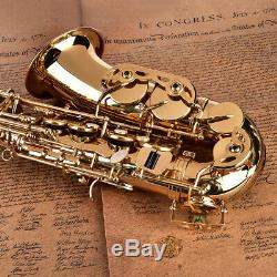 HOT! Alto Eb Sax Saxophone Brass Golden Set with Storage Case Mouthpiece Grease