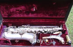 Late 1920s KING Satin Silver alto saxophone with case strap & mouthpiece