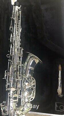 Nice Used Silver Saxophone. Com Alto Saxophone With Hard Case & Mouthpiece